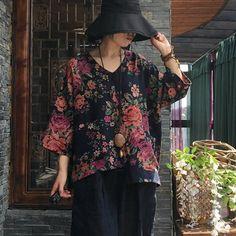 Print V-neck Autumn Long Sleeve Cotton Blouse Polo Collar Shirts, Shirt Blouses, Linen Pants Women, Flower Sleeve, Striped Long Sleeve Shirt, Loose Shirts, Loose Sweater, Cotton Blouses, Printed Blouse