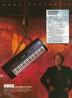 """Retro Synth Ads: Korg Wavestation """"Portraits"""" ad featuring Jan Hammer, Keyboard, Electronic Musician 1991"""