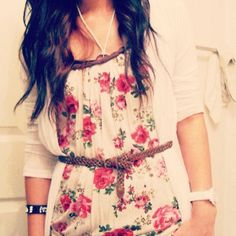 floral shirt with cardigan and a belt.