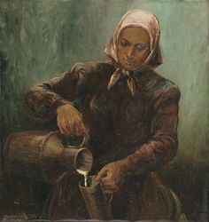 Július Nemčík: Mliekárka:1949 Primates, Facade, Modern Art, Graphic Design, Illustration, Artist, Painting, Author, Primate