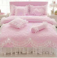 Pin By Nina On Bedroom Duvet Covers Bedroom Decor Pink Bedding Ruffle Bedding, Pink Bedding, Bedding Sets, Quilt Bedding, Pink Bedrooms, Girls Bedroom, Bedroom Decor, Designer Bed Sheets, Princess Room
