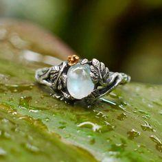 Sterling Silver Rainbow Moonstone Ring Daisy MADE by BlackTreeLab