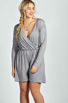 4e00abbb852 Tina Longsleeve Plunge Neck Playsuit - Plus Size Plus Size Shopping