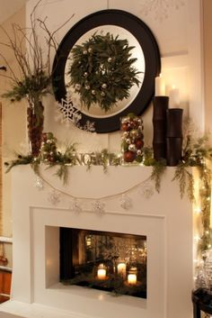 mirror with wreath. Gorgeous!