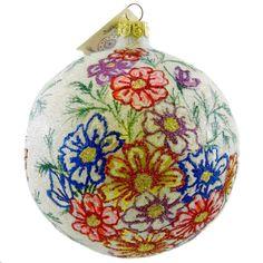 Larry-Fraga-SPRING-BOUQUET-Blown-Glass-Ornament-Ball-Floral-Flower-4105