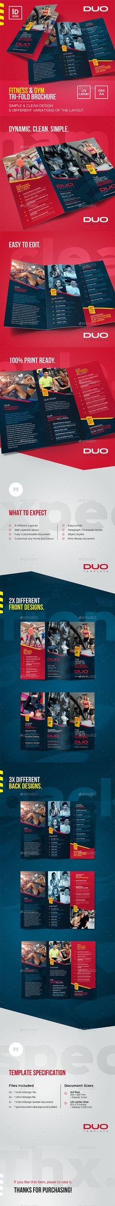 Fitness & Gym Trifold Brochure — InDesign INDD #sport #training • Download ➝ https://graphicriver.net/item/fitness-gym-trifold-brochure/20246586?ref=pxcr