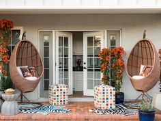Whether it's a welcoming courtyard, a narrow outdoor landing or a shady backyard, HGTV shares 12 easy ways to bring style and substance to your outdoor spaces. Outdoor Rooms, Outdoor Living, Outdoor Ideas, Outdoor Life, Enclosed Gazebo, Fiber Optic Lighting, Flagstone Patio, Colorful Chairs, Blue Chairs