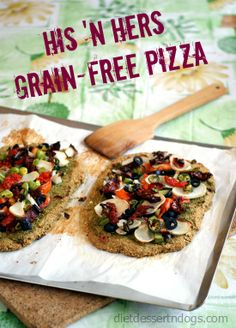 Dinner tonight: Grain-Free, Bean-Free, Oil Free Vegan Pizza Crust (& His N Hers Toppings). Healthy Dinner Recipes, Whole Food Recipes, Vegetarian Recipes, Healthy Meals, Vegan Pizza Crusts, Candida Diet Recipes, Happy Foods, Foods With Gluten, Dairy Free Recipes