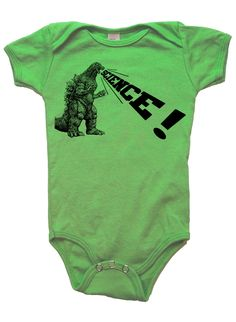 baby infant onesie godzilla dinosaur science- American Apparel grass gree- 3-18 months available- Worldwide shipping by missionthread on Etsy https://www.etsy.com/listing/181676320/baby-infant-onesie-godzilla-dinosaur