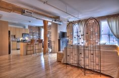 St. Lawrence Market Lofts – Unit #308 | Toronto LOFTS | Character galore in this large, open concept 1230 sf 1 bedroom + den authentic loft with original exposed brick walls, high ceilings & hardwood floors – right beside the St. Lawrence Market! Steps to Yonge subway & Financial District. | torontolofts.ca | info@torontolofts.ca Toronto Lofts, Centre Island, Exposed Brick Walls, St Lawrence, High Ceilings, Open Concept, Den, Hardwood Floors, The Unit