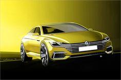 Die Studie VW Sport Coupé Concept GTE gibt auf dem Genfer Autosalon 2015 einen Ausblick auf den neuen VW CC