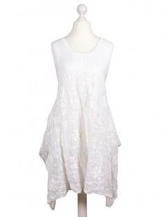 Damen Tunika Kleid mit Stickerei, weiss