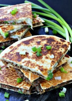 Crispy quesadillas filled with sweet and spicy korean beef, mozzarella and scallions.  Full recipe