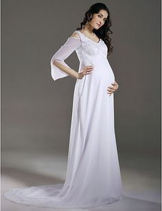 Sheath/ Column Empire V-neck Chiffon Maternity Wedding Dress With Beaded Appliques