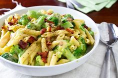 Broccoli and Bacon Macaroni & Cheese by foodiebride, via Flickr - Gf pasta, omit meat, etc