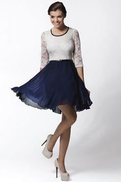 Navy and White Belted Lace and Chiffon Dress by Awama. #Fashionhub #fashion #eveningwear #lacedress #chiffondress #awama #designerdress #sexydress