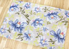 Alfombra decorativa - Flores azules