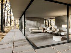 Indoor Outdoor Bathroom, Outdoor Tiles, Outdoor Flooring, Ceramic Floor Tiles, Wall And Floor Tiles, Open Architecture, Stone Look Tile, Monochrome Interior, Outdoor Living Rooms