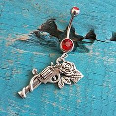 Pistol with Rose Belly Button Ring Red