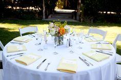 Khaki tablecloth / ivory napkins wedding reception khaki