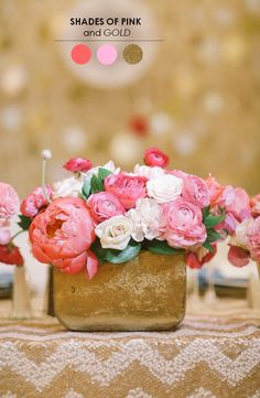 Shades of pink and gold- these are my colors! The Perfect Palette: 10 Wedding Color Palettes You Need to Consider! Wedding Themes, Wedding Colors, Wedding Styles, Wedding Flowers, Wedding Ideas, Ranunculus Wedding, Wedding Centerpieces, Wedding Decorations, Centrepieces