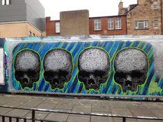 Four Skulls Mural - Street Art #StreetArt #art #graffiti