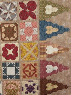 quiltlia: Nog meer Nantes: Dear Jane border blocks made with elongated hexagon triangles, a good photo