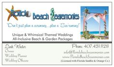 Florida Beach Searemonies is an Orlando based wedding company specializing in unique & whim'sea'cal themed beach weddings, offering all inclusive packages & full service wedding/reception planning. We service the Orlando-Central Florida areas, and East/West Coast beaches of Florida; ranging from Cocoa Beach, Daytona & St. Augustine over to the Clearwater & St. Pete beach shorelines.