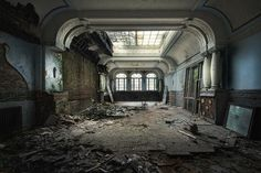 we came to dance by schnotte on DeviantArt - decayed dancehall / abandoned hotel Old Abandoned Buildings, Abandoned Property, Old Buildings, Abandoned Places, Abandoned Mansions, Haunted Places, Chiaroscuro Photography, Conceptual Photography, Architecture Classique