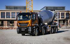 Download wallpapers Iveco Stralis X-Way, 2018, 8x4, orange-black new truck, concrete mixer, construction machinery, construction concepts, Super Loader, Iveco