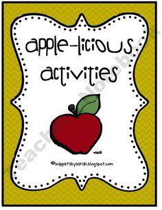 Free Apple-licious Activities product from Sarah-Paul on TeachersNotebook.com