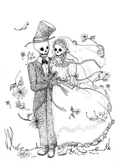 Skeleton Day of the dead wedding print by CarlaLovato on Etsy