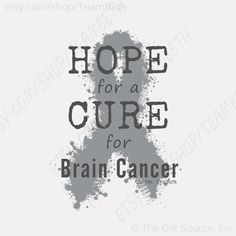 Brain cancer awareness Hope for a cure t shirt gray by TeamBeth