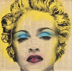 """Madonna"", Mr. Brainwash. Screenprint and spray paint on newspaper. 22 × 22 in // Kollecto.com"