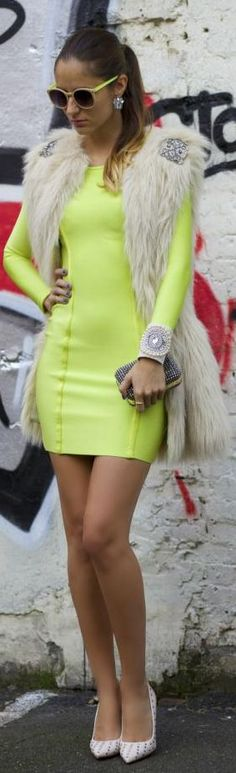 #Neon #Winter. by From Brussels With Love This look is edgy and feminine!