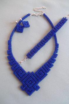 Geometric Beadwoven, Geometric necklace, Bead necklace, Dark blue jewelry, Set beaded jewelry, Beadwork, Handmade necklace, Gift