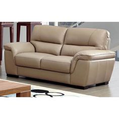 Luca Home Beige Leather Contemporary Loveseat - Overstock Shopping - Great Deals on Sofas & Loveseats