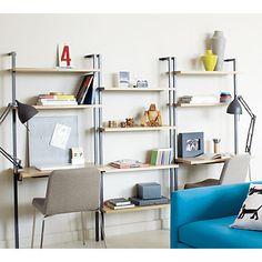 "helix white oak 70"" wall mounted desk in storage furniture | CB2"