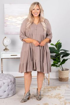 Chic And Fabulous Dress, Taupe – Chic Soul Nursing Clothes, Fabulous Dresses, Everyday Look, Neutral Colors, Taupe, Midi Skirt, Booty, Chic, Skirts