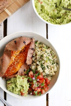 Baked Sweet Potatoes and Mediterranean Quinoa Salad with Fresh Salsa and Guacamole