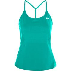 Nike Premier Maria stretch-jersey tank ($29) ❤ liked on Polyvore featuring activewear, activewear tops, teal, nike activewear, stretch jersey, nike and nike sportswear