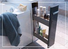 Une stucture flaconnier à double tiroir Meltem, parfaite pour ajouter un espace rangement à une petite salle de bain.