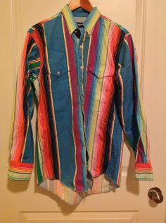 Vintage Wrangler Western Shirt Men's 16 34 Colorful stripes long sleeve M medium 80s by TheElegantBohemians on Etsy