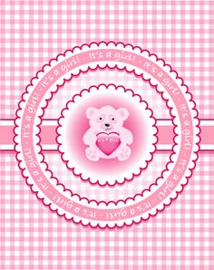 'It's a girl'. Template for birth announcement of baby shower invitation. bear holding heart on gingham background.