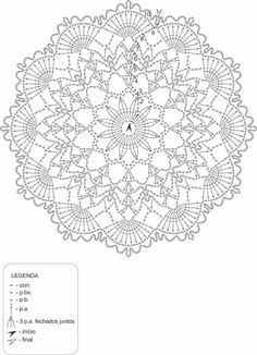 doily by anabelia with free Free Crochet Doily Patterns, Crochet Symbols, Crotchet Patterns, Crochet Diagram, Crochet Chart, Filet Crochet, Crochet Motif, Diy Crochet, Crochet Stitches