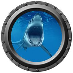 Open Wide Shark Porthole Wall Decal by WilsonGraphics on Etsy, $14.00