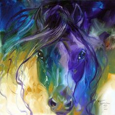 Daily Paintings ~ Fine Art Originals by Marcia Baldwin: ABSTRACT HORSE ART BLUE ROAN ORIGINAL OIL PAINTING by MARCIA BALDWIN