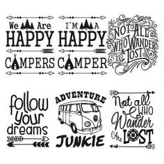 Travel Adventure Pack Sayings With Im A Happy Camper Not All Who Wander Lost