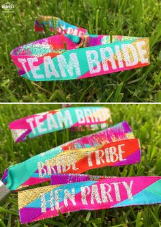 team bride - bride tribe - hen-party wristbands http://www.wedfest.co/festival-hens-hen-party-wristbands/