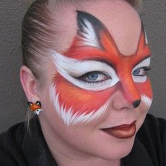 Fox-Face Paint by Whittyan-art Girl Face Painting, Belly Painting, Face Painting Designs, Painting For Kids, Fox Face Paint, Face Paint Makeup, Makeup Art, Fox Animal, Animal Faces